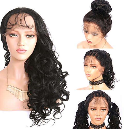 Helene Glueless Lace Front Wig Synthetic Wig Heat Resistant High Temperature Fiber Swiss Lace Part Handmade Loose Wave Long Wigs for Women Natural Hairline with Baby Hair (22 Inches Black Color)