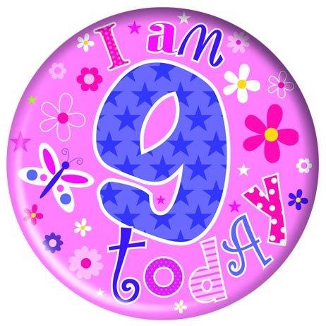 Badge 5cm Happy Birthday Age 9 Girl Birthday Party Favor
