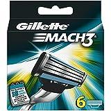 Gillette Mach 3 - Cuchillas de afeitar para hombre, 6 unidades, color gris