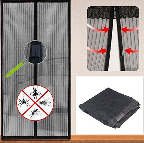 Tür Insektenschutz Vorhang mit magnetischen Verschluss Moskitonetz 210 x 100 cm Schwarz (Tür-vorhänge)