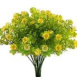 Nahuaa Künstliche Blumen Pflanzen 4 Stück Kunstpflanze Gelb Deko Kunstblumen Kleine Plastikblumen für Draußen Balkon Girlanden Hochzeit Büro Geschenk