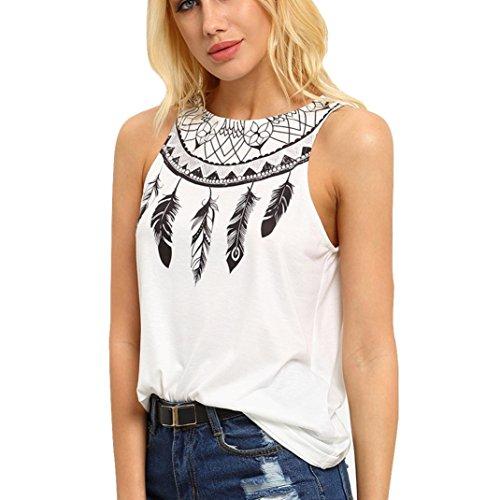 Xinan Damen Sommer ärmellose Feder bedruckte Bluse T Shirt (L, Weiß)