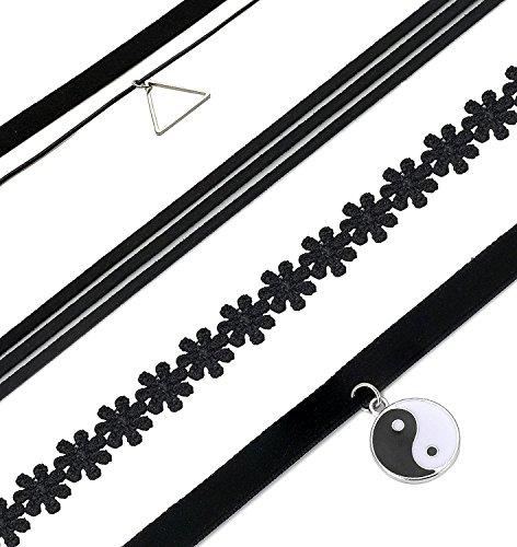 Elegante-Rose-10Pcs-Schwarzer-Choker-Halsketten-Set-Gothic-Stretch-Samt-Tattoo-Anhnger-Choker-Halsketten