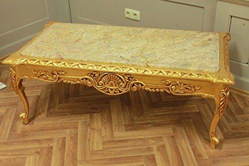 LouisXV Barock Couchtisch Marmor beige Tisch Antik Stil Stil Barock Rokoko AlTa0253BGoBg antik Stil...