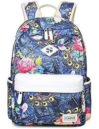 HAPPYTIMEBELT Double Zipper Jeans Flower Printing School Backpack Student Book Bag(Blue)