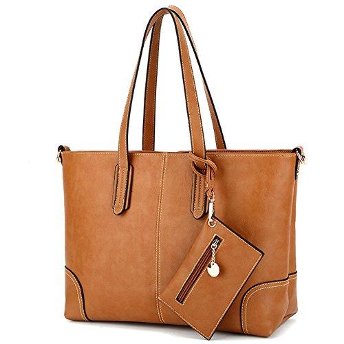 fanhappygo Fashion Retro Leder Damen Spiraea shopper bag Schulterbeutel Umhängetaschen Abendtaschen braun