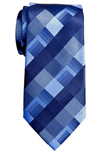 Retreez Vintage Motif géométrique 8cm de cravate en microfibre tissé–6couleurs Bleu