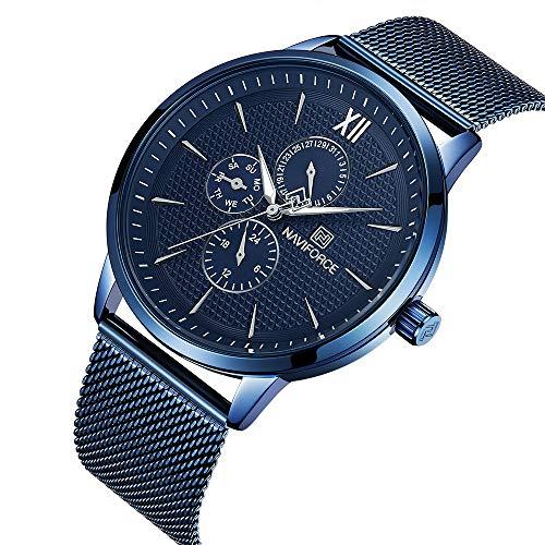 NAVIFORCE - Montre Homme avec Bracelet en Acier Inoxydable, 30 M résistant à l'eau, Montre-Bracelet analogique de Luxe à Quartz, affichant Le Jour, la Date et l'heure