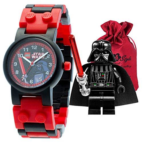 Lego Star Wars Darth Vader Niños Reloj De Pulsera Negro Rojo + TRANSPORTE bolsitas clic de pulsera cuarzo reloj niños reloj ule8020301
