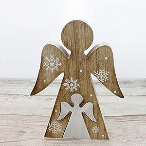Engel Weihnachtsdeko 21cm - weiß | Deko-Figur Engel aus Holz | Handarbeit | Deko Figur | Weihnachten Figur Dekoration