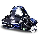 KingTop Zoombare 1800 Lumen CREE XM-L T6 LED Kopflampe Stirnlampe mit 3 Modi Wiederaufladbare 2x18650-Akku und Ladegerät für Camping Fahrradfahren Joggen Wanderung Jagd usw.