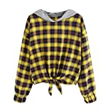MIRRAY Damen Lässige Plaid Langarm-Kapuzenpullover Pullover Top Bluse