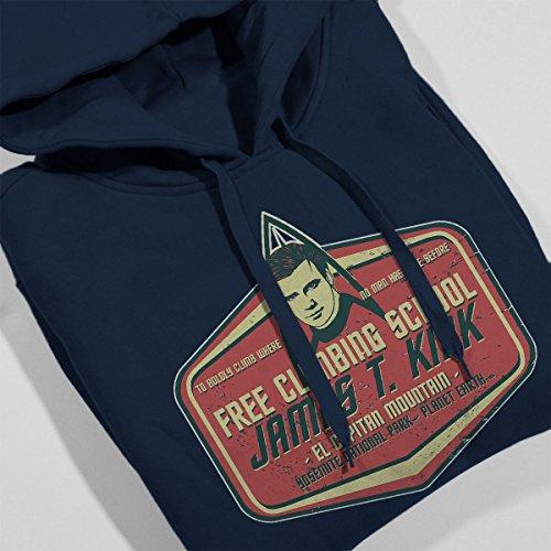 Captain James T Kirk Climbing School Star Trek Women's Hooded Sweatshirt Navy Blue