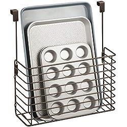 mDesign étagère à suspendre - petite étagère pratique pour placard de cuisine - accessoire de rangement pour planche à découper, livres de cuisine, etc. - couleur bronze
