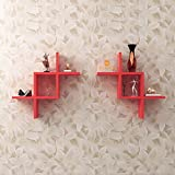 Driftingwood Intersecting Storage Wall Shelves Rack - Red