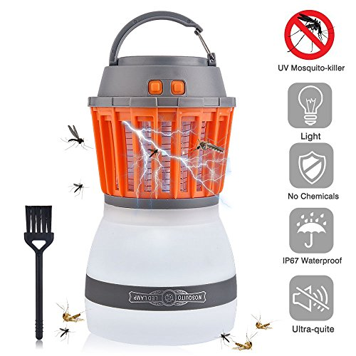 AUSHEN UV Insektenvernichter, USB elektrisch Mückenfalle, 2 in 1 Moskito Lampe mit Wasserfeste und Transportable LED Campinglampe IP67 Regendichte Zelt Licht für Innen und Außen