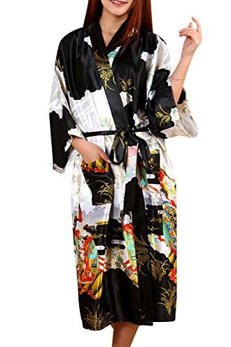 Dolamen Donna Kimono Vestaglia Pigiama Sleepwear, Raso di Seta del Geisha e Fiori Robe Accappatoio Damigella d'Onore da Notte Pigiama, Stile Lungo & 2017 di Nuovo Stile (XXX-Large, Nero)