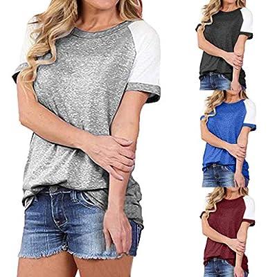 Yvelands Damen T-Shirt Sommermode Kurzarm Tops Colorblocked Casual Tops