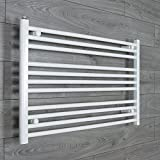 companyblue 1100mm Wide Chrome or White Heated Towel Rail Radiator Flat/Straight Ladder for Stylish Bathroom (1100 x 600 mm White)