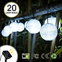 Solar Lanterns String Lights, Chickwin Solar Powered IP65 Waterproof Outdoor Fairy Lights Decoration 17.3feet 20 LED 2 Modes for Garden Tree Patio Lawn Home Wedding Party and Xmas Decorations (White)