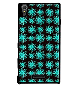 Printvisa Blue And Black Floral Pattern Back Case Cover for Sony Xperia M2 Dual D2302::Sony Xperia M2
