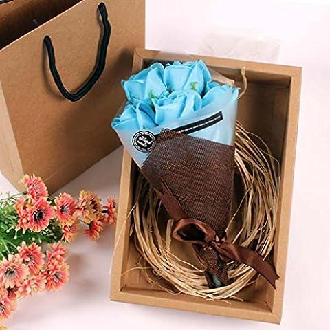Igemy 7pcs parfumée Rose Pétale de fleur de bain Corps Savon Cadeau de fête de mariage bleu