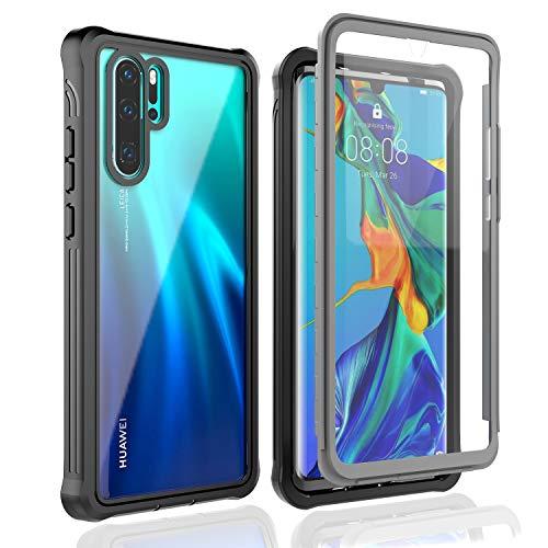 BESINPO Huawei P30 Pro Hülle, Stoßfest Transparent Hülle 360 R&umschutz mit Eingebautem Bildschirmschutz Robust Bumper Handyhülle Schutzhülle für Huawei P30 Pro 2019 (Schwarz/Grau+ Klar)