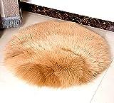 Plüsch Schaffell Wurf Teppich Kunstpelz Elegant Chic Style gemütlich Shaggy Bodenmatte Bereich Teppiche Home Decorator Super weich Teppiche Kinder Spiel Teppich, Rundbereich Teppich 90cm (Kamelfarbe)