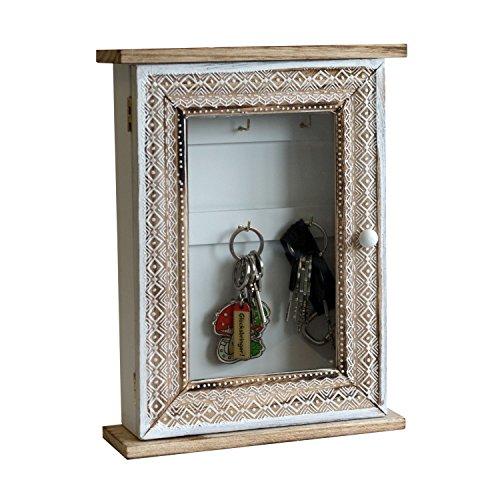Multistore 2002 Schlüsselkasten Tür mit Echtglasscheibe 6 Haken, Magnetverschluß 22,5x30x7cm Weiß Natur Wandschrank Schlüsselschrank Schlüsselbox