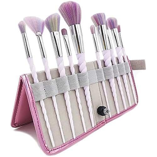 maquillaje unicornio kawaii MYG 10 brochas de maquillaje de alta calidad, mango con forma de unicornio, brochas suaves multicolor con funda portátil