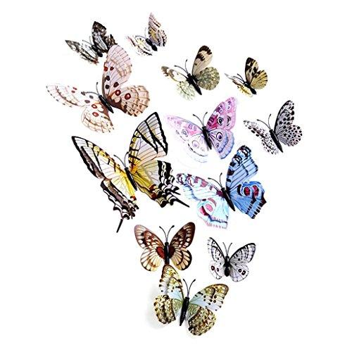 Preisvergleich Produktbild Saingace Wandaufkleber Wandtattoo Wandsticker,12x 3D-Schmetterlings-Wand-Aufkleber Kühlschrankmagnet Raum-Dekor-Aufkleber Applikationen