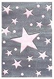 Kinderteppich Happy Rugs STARS silbergrau/rosa 80 x 150 cm