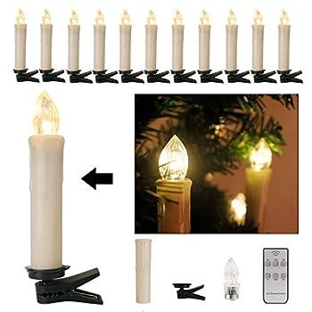 Kefflum 30er Weinachten Led Kerzen Kabellos Weihnachtskerzen Christbaumkerzen Dimmen Flackern Baumkerze-set,kerzen Lichtfarbe Warmweiß 0