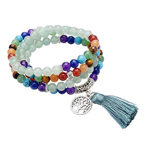 QGEM 108 Perlen Edelstein Yoga Armband Wickelarmabnd Chakra lebensbaum Buddha Buddhistische Tibetische Gebetskette Healing Reiki Mala Kette Halskette mit lebensbaum Anhänger - Mit Armband Türkis-perlen
