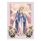 Baoblaze DIY 5D Pintura de Bordado de Diamantes de Imitación de Punto de Cruz Colgante de Pared Decoración Casera - Virgen María