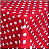 TEXMAXX Wachstuchtischdecke Wachstischdecke Wachstuch Tischdecke abwaschbar (150-01) - 100 x 140 cm - PVC Tischdecke abwischbar, Punkte Muster in Rot-Weiss