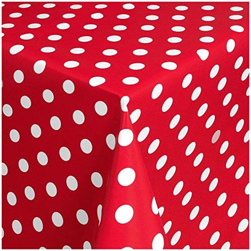 TEXMAXX Wachstuchtischdecke Wachstischdecke Wachstuch Tischdecke abwaschbar (150-01) - 200 x 140 cm - PVC Tischdecke abwischbar, Punkte Muster in Rot-Weiss