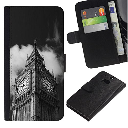 LeCase - HTC One M8 - Architecture Big Ben Close Up London - U Cuoio Custodia Portafoglio Snello caso copertura Shell armatura Case Cover Wallet Credit Card