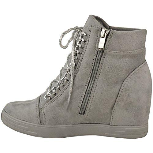 Damen Veloursleder Grau hoher Sneakers Keilabsatz mit Schaft Top High Schn眉rung Imitat amp; r6BvqOr
