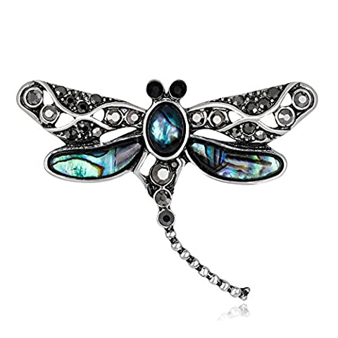 Lureme Mode Insect Bijoux Abalone Shell avec strass Libellule Broche Pin (br000072)