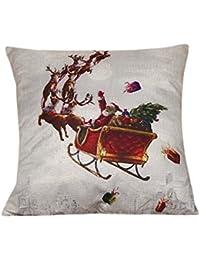 ... ❤ Funda de Almohada Navidad Halloween, impresión de Feliz Navidad Funda de Almohada Sábanas de algodón Sofá Funda de cojín…