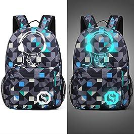 WYCY Zaino del sacchetto di affari del sacchetto del sacchetto del libro scolastico dello zaino luminoso si adatta sotto il computer portatile di 15.6 pollici