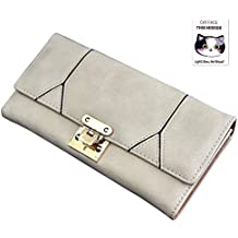 Woolala Womens Crossing Buckle Wallet Large Capcity Long Purse for Party, Travel, Shopping