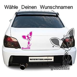 Autotattoo Autoaufkleber Hund Chihuahua Wunschname Fuchsia KLEIN