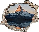 3D-Effekt Wandtattoo 'Berg am See' | Aufkleber | Durchbruch | selbstklebendes Wandbild | Wandsticker | Stein | Wanddurchbruch | Wandaufkleber | Tattoo, Größe:60x50 cm
