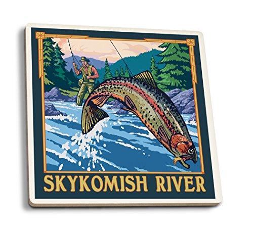 Fly Fishing Szene-skykomish River, Washington, keramik, mehrfarbig, 4 Coaster Set