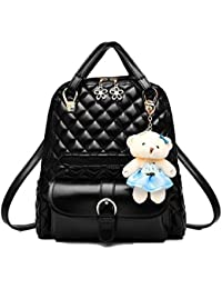 3fe37c2f2d Di Grazia Women s 2 Way Convertible Backpack Handbag (Black-Quilted-Teddy- Backpack