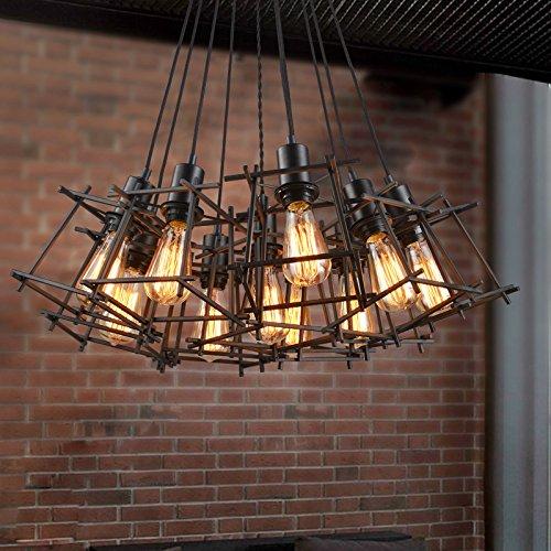 ZQ@QX Decorazione della casa Personalità creativa retrò eoliche industriali filo Lampadario Sala da pranzo set lampada a sospensione villaggio in ferro battuto singola scaletta,40,10 senza luce