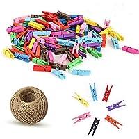 100 piezas de colores Clips de fotos de madera Mini pinzas Clothespins Ropa Papel Fotográfico Craft