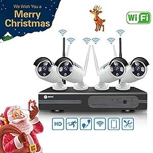 camaras de seguridad: Anni Kit de Cámaras Seguridad WiFi Vigilancia Inalámbrica Sistema 1080P 4CH HD N...